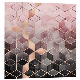 Acrylic glass  Pink And Grey Gradient Cubes - Elisabeth Fredriksson