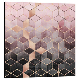 Aluminium print  Pink And Grey Gradient Cubes - Elisabeth Fredriksson