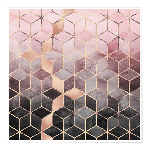 Premium poster Pink And Grey Gradient Cubes