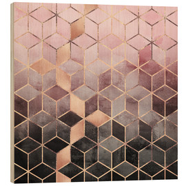 Wood  Pink And Grey Gradient Cubes - Elisabeth Fredriksson