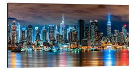 Alu-Dibond  Midtown Skyline by Night, New York - Sascha Kilmer