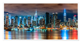 Premium poster  Midtown Skyline by Night, New York - Sascha Kilmer