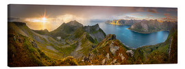 Canvas  Panoramic View from Husfjellet Mountain on Senja Island during Sunset, Noway - Markus Ulrich