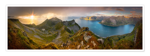 Premium poster Panoramic View from Husfjellet Mountain on Senja Island during Sunset, Noway