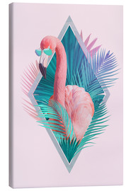 Canvas print  Tropical leaves with flamingo - Robert Farkas