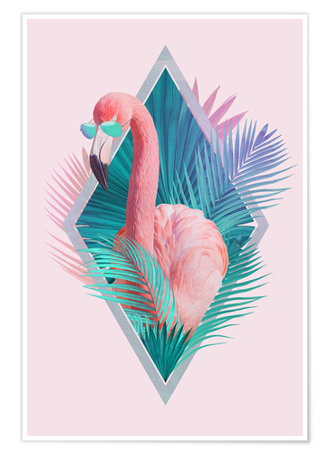 Premium poster Tropical leaves with flamingo