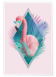 Premium poster  Tropical leaves with flamingo - Robert Farkas
