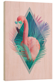 Wood print  Tropical leaves with flamingo - Robert Farkas
