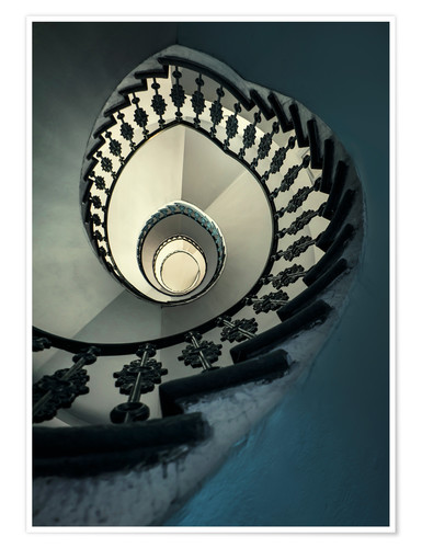 Premium poster Spiral staircase in beige and blue