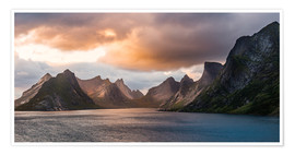 Premium poster Lofoten Evening Atmosphere, Moskenes, Reine, Norway
