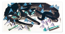 Poster Two horizontal black cats