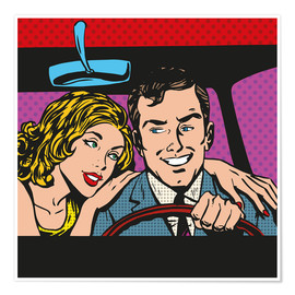 Premium poster Man and woman in the car
