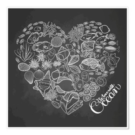 Premium poster  Heart made of shells and fish