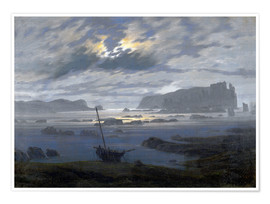 Premium poster Nordic sea in the moonlight