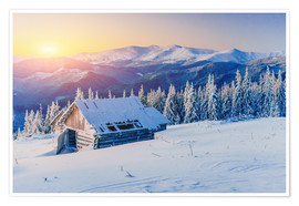 Premium poster Snowy hut at sunset