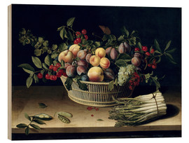 Wood print  Still life with a basket of fruit and a bunch of asparagus - Louise Moillon