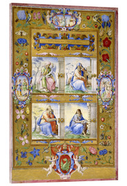 Acrylic print  The Four Evangelists, within a Border of Flowers, Birds, and Insects - Giulio Clovio