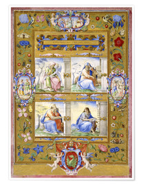 Premium poster The Four Evangelists, within a Border of Flowers, Birds, and Insects