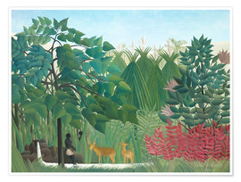 Premium poster  The waterfall - Henri Rousseau