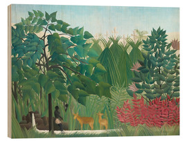 Wood print  The waterfall - Henri Rousseau