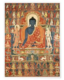 Tibetan School - Painted Banner (Thangka) with the Medicine Buddha (Bhaishajyaguru)