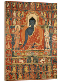 Wood print  Thangka with the Medicine Buddha - Tibetan School