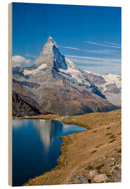 Wood print  Hikers walking on the path beside the Stellisee with the Matterhorn reflected. Zermatt Canton of Val - Roberto Moiola