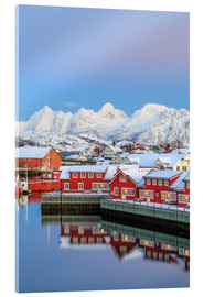 Acrylic print  Pink sunset over the typical red houses reflected in the sea, Svolvaer, Lofoten Islands, Arctic, Nor - Roberto Moiola