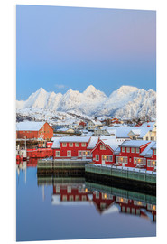 Foam board print  Pink sunset over the typical red houses reflected in the sea, Svolvaer, Lofoten Islands, Arctic, Nor - Roberto Moiola
