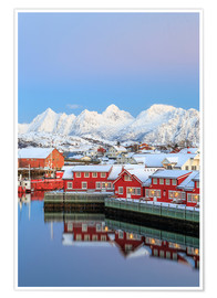 Premium poster Pink sunset over the typical red houses reflected in the sea, Svolvaer, Lofoten Islands, Arctic, Nor