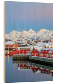 Wood  Pink sunset over the typical red houses reflected in the sea, Svolvaer, Lofoten Islands, Arctic, Nor - Roberto Moiola