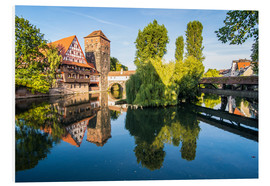 Foam board print  Old timbered houses and hanging tower, Nuremberg, Middle Franconia, Bavaria, Germany, Europe - Michael Runkel