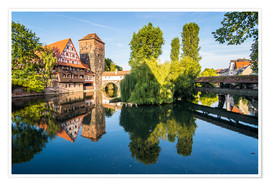 Premium poster Old timbered houses and hanging tower, Nuremberg, Middle Franconia, Bavaria, Germany, Europe