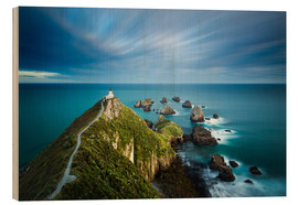 Wood print  Nugget Point Lighthouse, Nugget Point, Otago, South Island, New Zealand, Pacific - John Alexander
