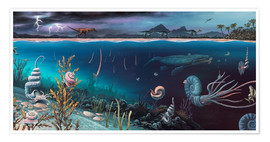 Richard Bizley - Cretaceous land and marine life, artwork