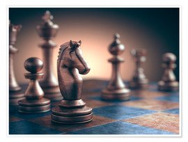 Premium poster Chess piece on chess board