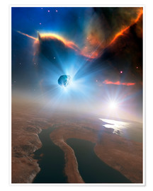 Premium poster Active comet, illustration