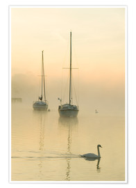 Premium poster A misty morning over Lake Windermere, UK