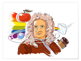 Premium poster Isaac Newton, English physicist