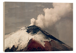 Wood print  Ash plume rising from Cotopaxi volcano - Morley Read