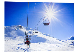 Acrylic print  Skiers ascending on a ski lift - Gustoimages