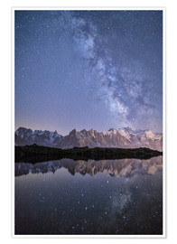 Poster A sharp Milky Way on a starry night at Lac des Cheserys with Mont Blanc, Europe's highest peak, to t