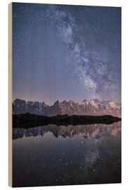 Wood print  Milky way at starry night with the Mont Blanc - Roberto Moiola