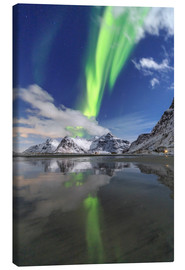Canvas print  Northern lights and mountain reflections - Roberto Moiola