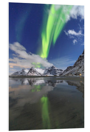Foam board print  Northern lights and mountain reflections - Roberto Sysa Moiola