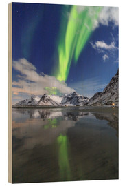 Wood  Northern Lights (aurora borealis) and mountains reflected in the cold waters, Skagsanden, Lofoten Is - Roberto Moiola