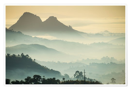 Premium poster  Sunrise and fog over the mountains - Michael Runkel