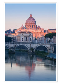 Premium poster View of the St. Angelo bridge over the river Tiber