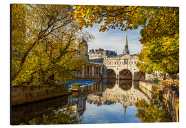 Aluminium print  Pulteney Bridge Reflection in River Avon, Bath, Enland, Unesco World Heritage - Billy Stock