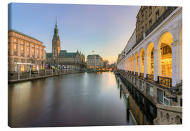 Canvas  Hamburg Alster Arcades and City Hall - Michael Valjak